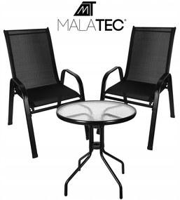 Malatec 16198 Záhradný balkónový set stôl + 2 stoličky - čierny