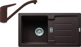 Franke SET G89 granitový drez STG 614-78 tmavo hnedá + batéria FC 9541 tmavo hnedá
