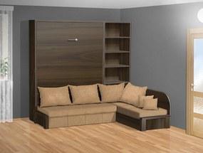 Nabytekmorava Sklápacia posteľ s rohovou pohovkou VS 3075P - 200x160 cm nosnost postele: štandardná nosnosť, farba lamina: orech 729, farba pohovky: nubuk 133 caramel