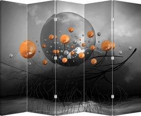 Paraván - Oranžové guľa (225 x 180 cm)