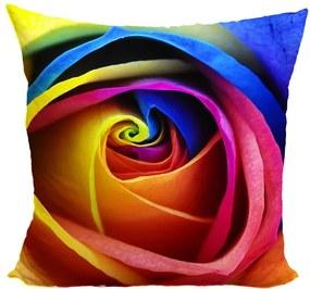 Vankúš Dúhová ruža (Veľkosť: 55 x 55 cm)