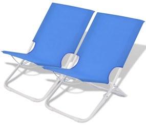 Skladacie oceľové kempingové/plážové stoličky, 2 ks, modré, 48x60x62 cm