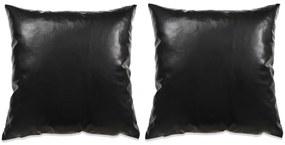 vidaXL Sada 2 dekoratívnych vankúšov z PU, 60x60cm, čierna