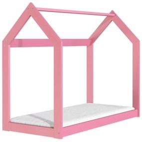 Drevobox Drevená posteľ domček 160 x 80 cm ružová + rošt