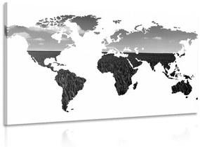 Obraz mapa sveta v čiernobielom prevedení