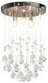 vidaXL Stropná lampa s kryštálovými korálkami strieborná okrúhla 3 x G9 žiarovky