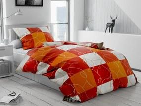Krepové obliečky Šach oranžový Rozmer obliečok: 70 x 90 cm, 140 x 200 cm