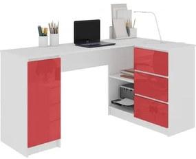 Počítačový stôl B-20 lesklý červený pravý