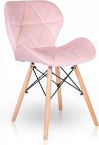 Jedálenská stolička SKY ružová - škandinávsky štýl