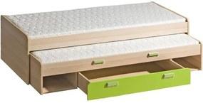 TEMPO KONDELA Ego L16 80 rozkladacia posteľ s prístelkou jaseň / zelená