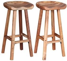 Barové stoličky z akáciového dreva, 2 ks, 38x37x76 cm
