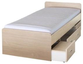 KONDELA Duet 80262 90 manželská posteľ s úložným priestorom javor