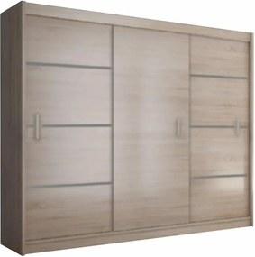 Skriňa s posúvacími dverami, dub sonoma/sivá, MERINA 250