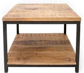 Čierny konferenčný stolík s doskou z mangového dreva LABEL51 Vintage, 60 × 60 cm