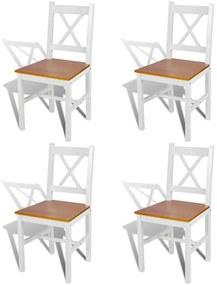 Drevené jedálenské stoličky, 4 ks, biela a prírodná farba