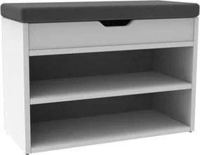 Botník biely s tmavo šedým sedákom Venil