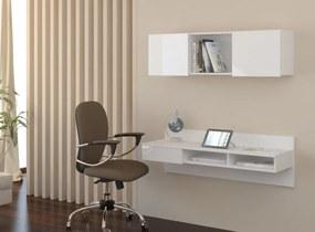 MEBLOCROSS Uno pc stolík na stenu s policou biela