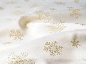 Škodák Dekoračná vianočná látka vzor X-06 zlaté vločky na krémovom – šírka 150cm