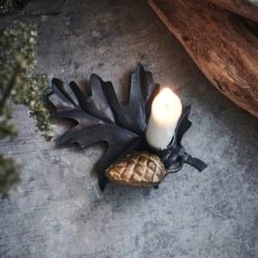 House Doctor Kovový svietniček Leaf Black