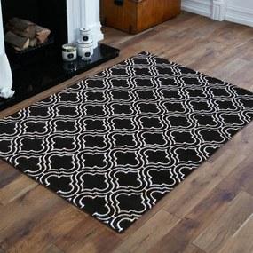 DomTextilu Kvalitný škandinávsky koberec v čiernej farbe s bielym vzorom 17591-128976