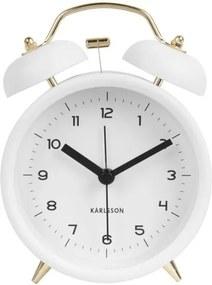 Biely budík Karlsson Classic Bell, ⌀ 10 cm