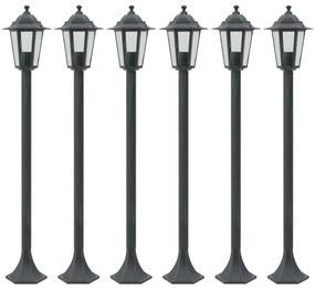 vidaXL Záhradné stĺpové lampy 6 ks E27 110 cm hliníkové tmavozelené