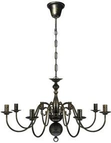 Čierny kovový luster so starožitným vzhľadom, 8 x žiarovky E14