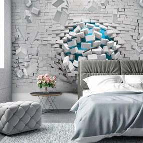 Fototapeta - 3D modrá lopta a biela tehlová stena (254x184 cm), 10 ďalších rozmerov