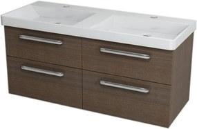 SAPHO - THEIA dvojumývadlová skrinka 116x50x44,2cm, 4x zásuvka, borovica rustik (TH126)