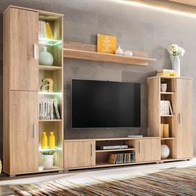 vidaXL Obývacia stena s LED svetlom, dub sonoma