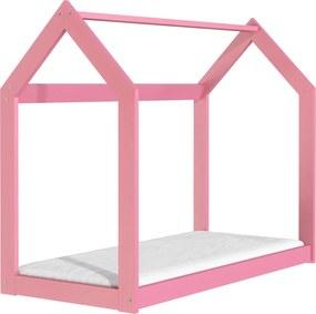 ČistéDrevo Drevená posteľ domček 160 x 80 cm ružová + rošt