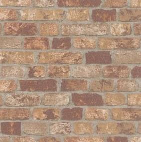 Vliesové tapety na stenu 58409, rozmer 10,05 m x 0,53 m, Brique 3D tehly červeno-hnedé s výraznou štruktúrou, Marburg