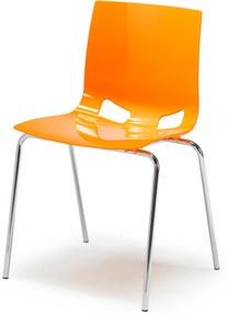 Jedálenská plastová stolička Juno, oranžová