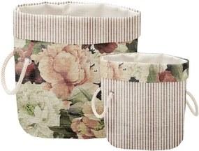 Súprava 2 ks dekoratívnych košov Linen Couture Roses