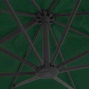 vidaXL Závesný slnečník s hliníkovou tyčou 400x300 cm zelený