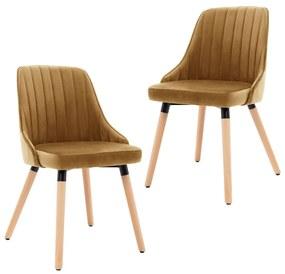 vidaXL Jedálenské stoličky 2 ks hnedé zamat