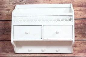 Drevená polička so šuflíkmi - biela (41x36x12 cm)