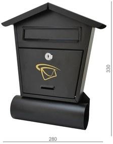 Schránka poštová 280x330x50mm, čierna matná, max. formát listu: B6, tunel na noviny ø70 mm