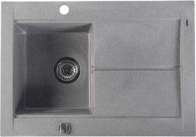 SAPHO - Dřez granitový vestavný s odkapávací plochou, 76,5x53,5 cm, šedá (GR1503