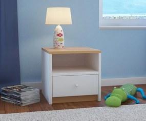OURBABY detský nočný stolík - bukovo-biely nočný stolík - bukovo-biely