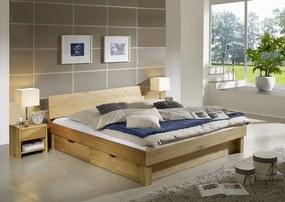 Bighome - TOM posteľ 200x200 s odkladacím priestorom, lakovaný prírodný masívny dub