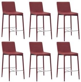 vidaXL Barové stoličky 6 ks, vínovo červené, umelá koža