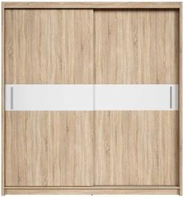 BLACK RED WHITE Hana 203 šatníková skriňa s posuvnými dverami dub sonoma / biela