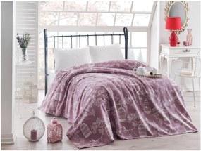 Fialová ľahká prikrývka cez posteľ Samyel, 200 x 235 cm