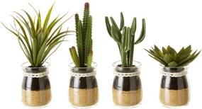 Sada 4 dekoratívnych kvetín v kvetináči Unimasa Artificial