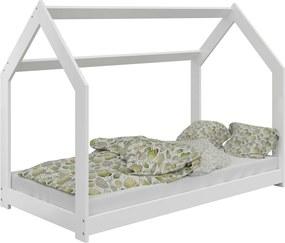 AMI nábytok Detská posteľ DOMČEK D2 80x160cm masív biela