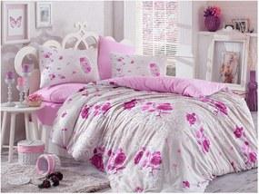 Ružové bavlnené obliečky s plachtou Matilde, 200 × 220 cm