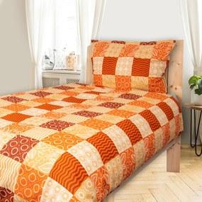 HOD Obliečky CARO oranžová Bavlna 70x90 140x200 cm