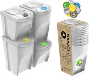 Jurhan Sada 4 odpadkových košov SORTIBOX biela, objem 2x25l a 2x35 litrov