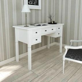vidaXL Biely písací stôl s 5 zásuvkami